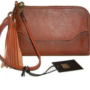 FRYE Leather Wristlet in Cognac!